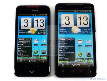 HTC EVO 4G - right, DROID Incredible - left - HTC EVO 4G and HTC DROID Incredible: side by side