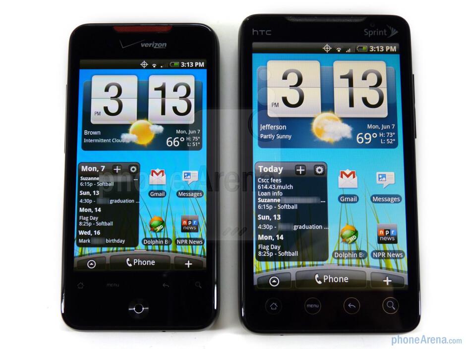 HTC EVO 4G - right, DROID Incredible - left - HTC EVO 4G and HTC DROID Incredible: side by side