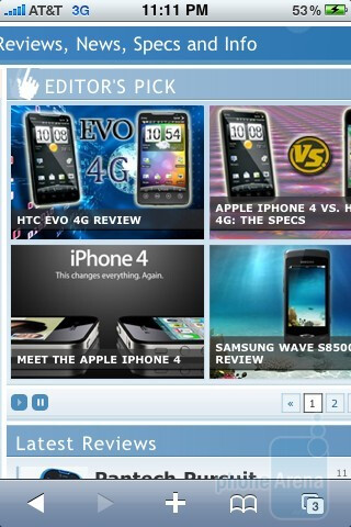 Web browsing with Safari on the Apple iPhone 3GS - Apple iPhone 3GS and HTC EVO 4G: side by side
