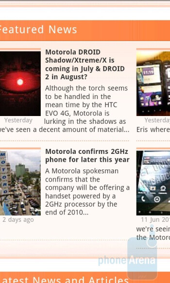 Web browsing on the HTC EVO 4G - Apple iPhone 3GS and HTC EVO 4G: side by side