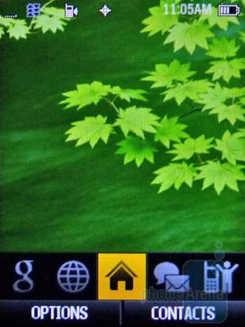 Home screen - The interface of the Samsung Restore M570 - Samsung Restore M570 Review