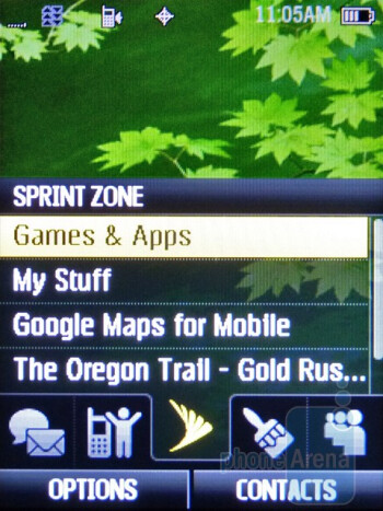 Sprint Zone - The interface of the Samsung Restore M570 - Samsung Restore M570 Review