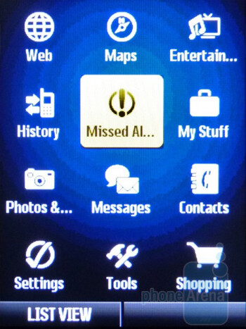 Main menu - The interface of the Samsung Restore M570 - Samsung Restore M570 Review