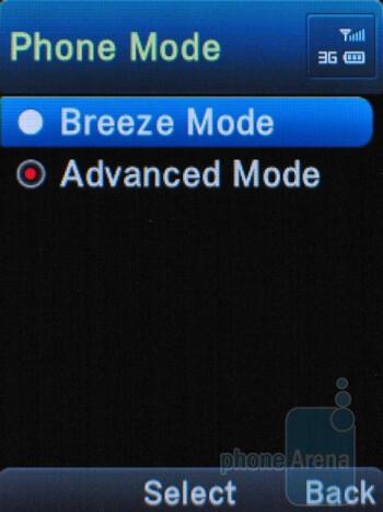 Selecting phone mode - Pantech Breeze II P2000 Review