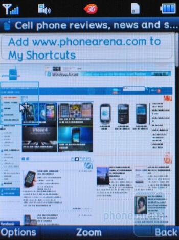 Opera Mini browser on the Pantech Breeze II P2000 - Pantech Breeze II P2000 Review