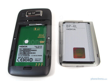 Removing the stainless steel back cover provides you access to the battery compartment and SIM card slot - Nokia E73 Mode Review