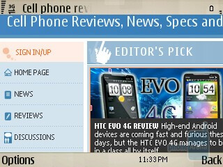 Symbian browser handles well and provides limited Flash support  - Nokia E73 Mode Review