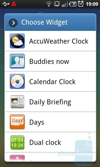 The selection of widgets can be added to the home screens - Samsung GALAXY S I9000 Review