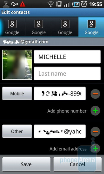 Phonebook - Samsung GALAXY S I9000 Review