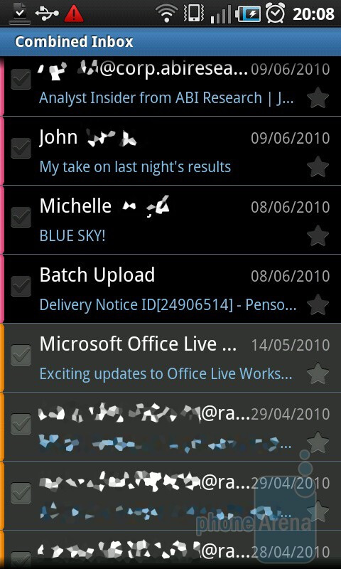 Combined inbox - Email on the Samsung Galaxy S - HTC Desire HD vs Samsung Galaxy S