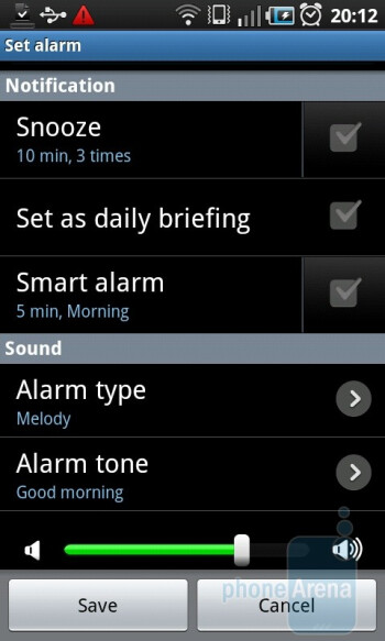 Alarms on the Samsung Galaxy S I9000 - Samsung GALAXY S I9000 Review