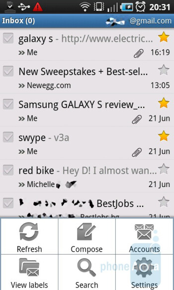 Email on the Samsung GALAXY S is searchable - Samsung GALAXY S I9000 Review