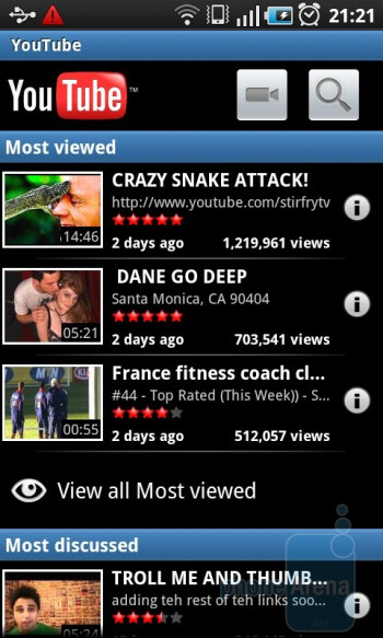 YouTube app - The default browser works wonders on the huge capacitive screen - Samsung GALAXY S I9000 Review