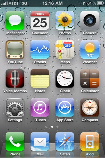 The interface of the Apple iPhone 4 - LG Optimus 2X vs Apple iPhone 4