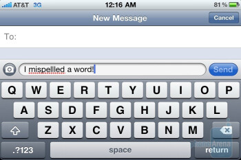 iOS 4 will now underline words that are misspelled - Apple iPhone 4 Review