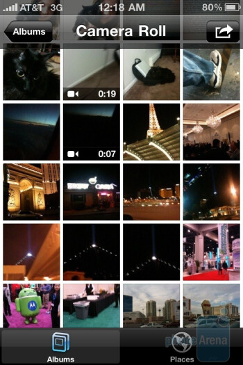 Photo gallery - Camera interface of the Apple iPhone 4 - Samsung Epic 4G vs Apple iPhone 4 vs Motorola DROID X - the camera comparison
