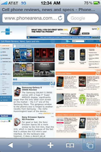 Web surfing with the Apple iPhone 4 - Nokia E7 vs LG Optimus 2X vs Apple iPhone 4