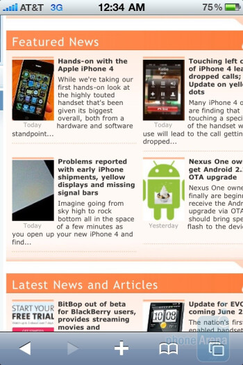 The Safari browser of the Apple iPhone 4 is very fluid - LG Optimus 2X vs Apple iPhone 4