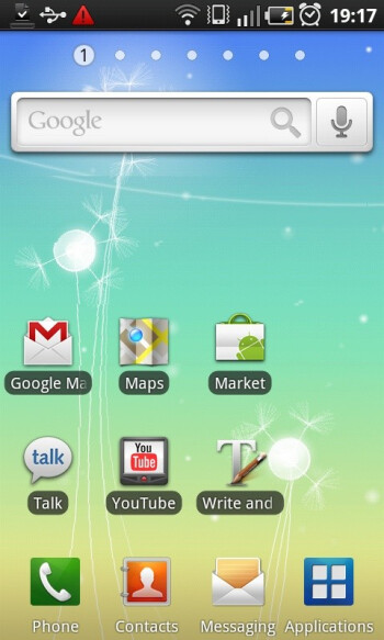The Samsung Galaxy S offers up to seven home screens - Samsung GALAXY S I9000 Review