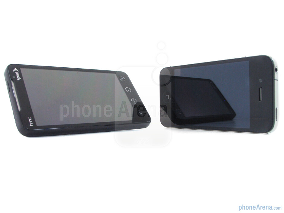 The kickstand and micro HDMI port of the HTC EVO 4G are handy - Apple iPhone 4 vs. HTC EVO 4G: side by side