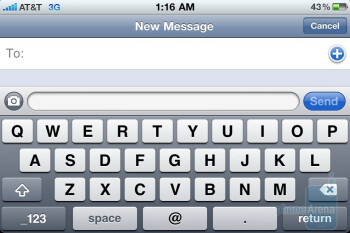 The on-screen keyboard of the Apple iPhone 4  is a bit more responsive to the touch - Apple iPhone 4 vs. HTC Droid Incredible