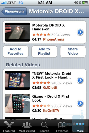 Watching YouTube on the Apple iPhone 4 - Apple iPhone 4 vs. HTC EVO 4G: side by side