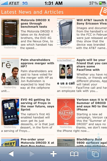 The Apple iPhone 4 with its Safari web browser - Apple iPhone 4 vs. HTC Droid Incredible