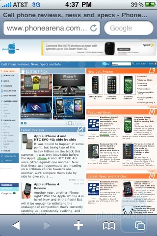 Apple iPhone 3GS - Apple iPhone 4Safari browser - Apple iPhone 4 vs. iPhone 3GS: side by side
