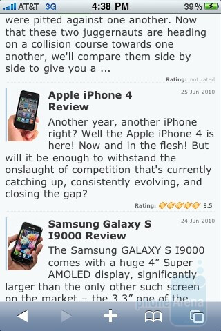 Apple iPhone 3GS - Apple iPhone 4Safari browser - Apple iPhone 4 vs. iPhone 3GS: side by side