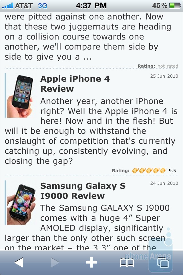 Apple iPhone 4Safari browser - Apple iPhone 4 vs. iPhone 3GS: side by side