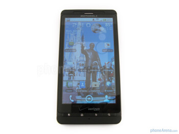 the Motorola DROID X MB810 has four physical buttons located under the display - Motorola DROID X Review