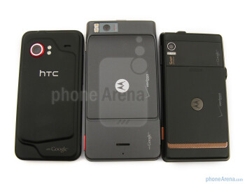 When placing the Motorola DROID X MB810 next to the HTC Droid Incredible and the original Motorola DROID,you can clearly see the difference in the screen size - Motorola DROID X Review