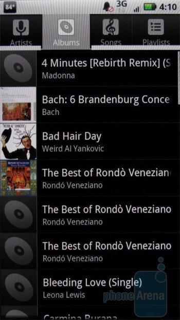 The music player of the Motorola DROID X - Samsung Fascinate vs Motorola DROID X