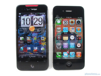 The overall look of the HTC Droid Incredible (left, up) clearly sits at the opposite end of the spectrumwhen compared to the nostalgic industrial design of the Apple iPhone 4 (right, down) - Apple iPhone 4 vs. HTC Droid Incredible