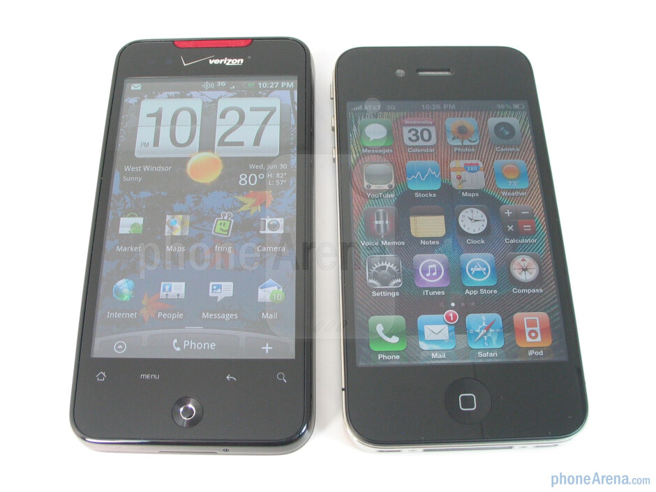 The Apple iPhone 4 (right) definitely has more luminance when viewed at all angles,but both devices have pretty good viewing anglesso you don't lose focus ofwhat's on screen - Apple iPhone 4 vs. HTC Droid Incredible