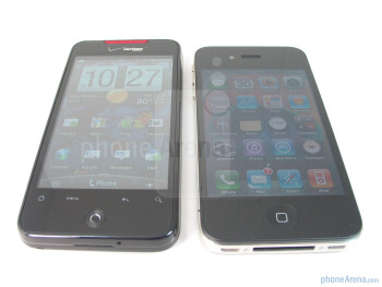 The Apple iPhone 4 (right) definitely has more luminance when viewed at all angles, but both devices have pretty good viewing anglesso you don't lose focus of what's on screen - Apple iPhone 4 vs. HTC Droid Incredible