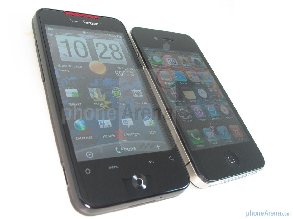 The overall look of the HTC Droid Incredible (left, up) clearly sits at the oppositeend of the spectrumwhen compared to the nostalgic industrial design ofthe Apple iPhone 4 (right, down) - Apple iPhone 4 vs. HTC Droid Incredible