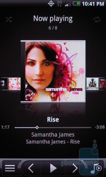 The music interface of the HTC Droid Incredible - Apple iPhone 4 vs. HTC Droid Incredible