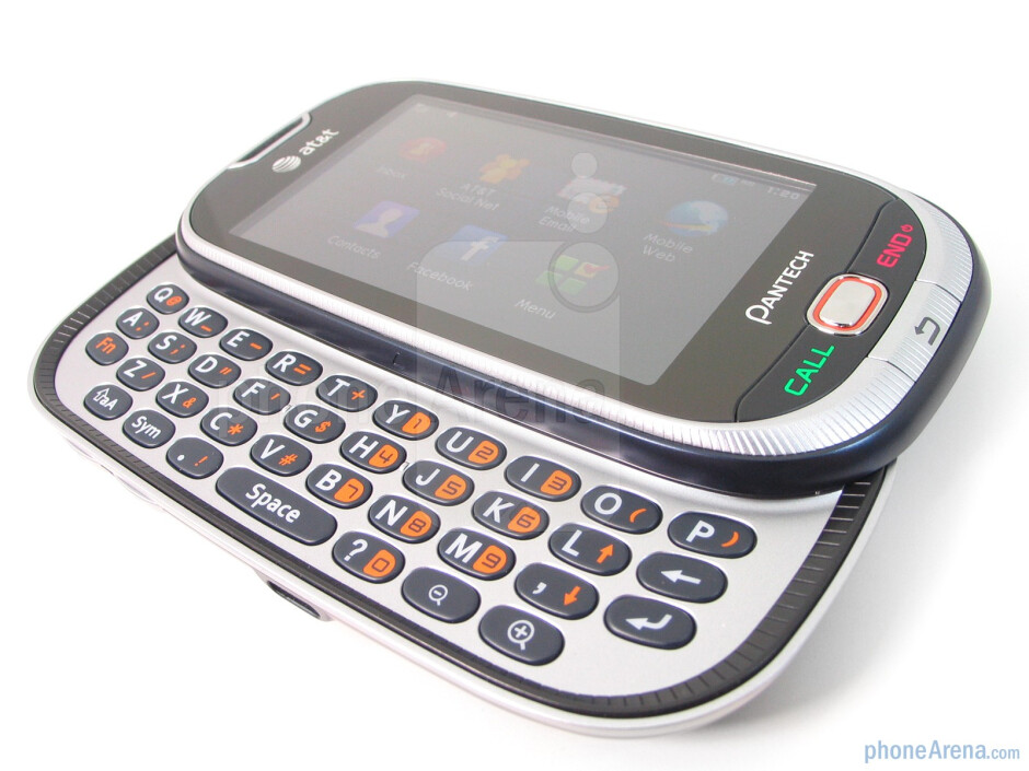Sliding open the phone presents you to the roomy landscape style QWERTY - Pantech Ease Review