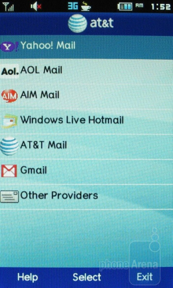 Email - Preloaded AT&T applications - Pantech Ease Review