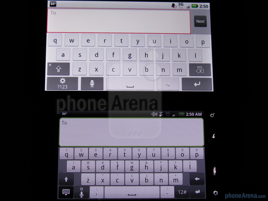 The displays of the Motorola DROID X (right, up) and the HTC Droid Incredible (left, down) - Motorola DROID X vs. HTC Droid Incredible
