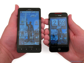 "The Motorola DROID X is the larger of the two both in height and width (5.02"" x 2.57"") - Motorola DROID X vs. HTC Droid Incredible"