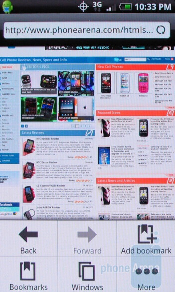 The browser of the HTC Droid Incredible includes Adobe Flash LiteWeb surfing - Motorola DROID X vs. HTC Droid Incredible