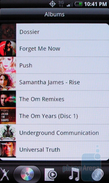 The music player of the HTC Droid Incredible - Motorola DROID X vs. HTC Droid Incredible