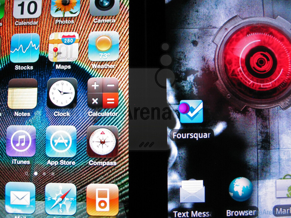Apple iPhone 4 - left and Motorola DROID X - right - Motorola DROID X vs. Apple iPhone 4