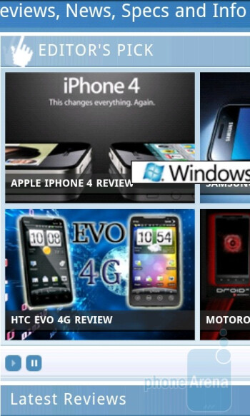 The stock Android browser on HTC EVO 4G - Samsung Epic 4G vs HTC EVO 4G