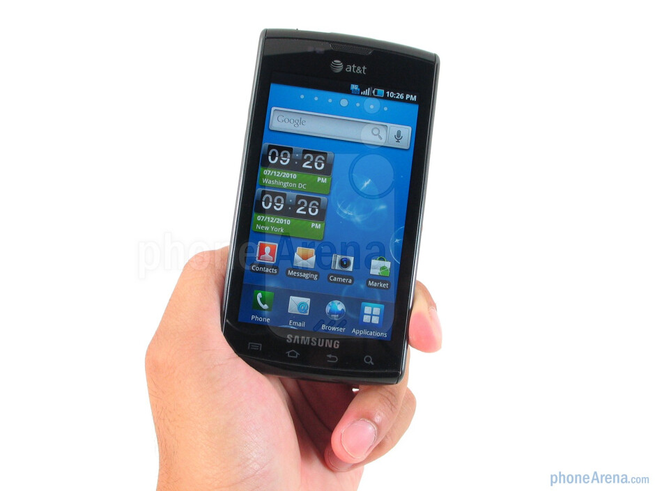 Samsung Captivate is constructed mostly out of durable feeling plastic - Samsung Captivate Review