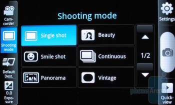 The camera interface of Samsung Vibrant - Samsung Vibrant Review
