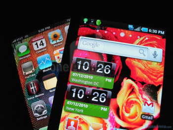 Samsung Captivate - left and above, Apple iPhone 4 - right and bellow  - Samsung Captivate vs. Apple iPhone 4