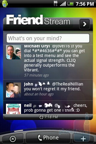 The seven home screens of the HTC Aria can host various widgets, shortcuts, and folders - HTC Aria Review